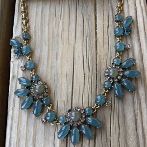 J Crew Blue Gray Chunky Crystal Necklace with Bag!